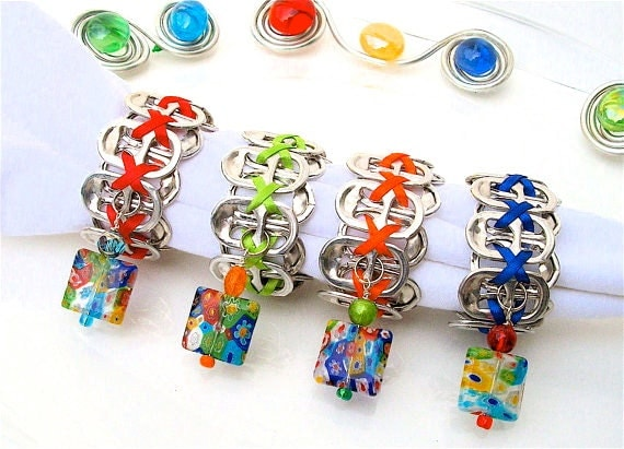 Beaded Soda Tab NAPKIN RINGS - Millefiori - Set of 4 - red, blue, green, orange - upcycled/recycled - gifts under 20.00