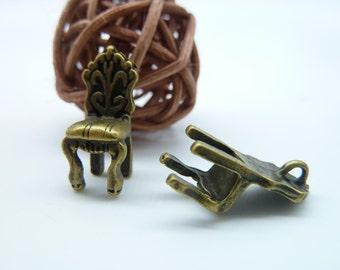 10pcs 7x9x20mm Antique Bronze Mini 3D Chair Charm Pendant c1377