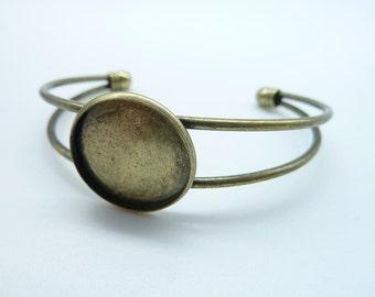 2pcs 20mm Antique Bronze Brass Bracelet With Filigree Pad C2005