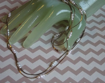 "Lot of 2 Vintage 16"" Single Goldtone Chain Necklace Faux Pearl Beaded Accents"