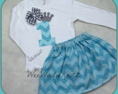 2 Piece Princess Birthday T shirt and Aqua Chevron Skirt (FROZEN INSPIRED) Toddler School Tween Long or Short Sleeve