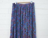 Vintage Paisley Print Skirt Gathered Waist High Waisted Sheer Fabric Purple Blue Teal L XL 80s 90s