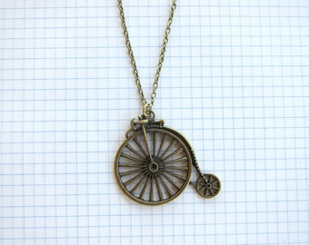 Vintage Bicycle Penny Farthing Antique Brass Chain Necklace Pendant Charm