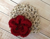 The Emma Beanie in Cranberry and Oatmeal Available in Newborn to 1 Year- MADE TO ORDER