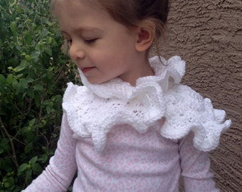Ruffle Edge Scarf in White Available in Three Sizes/Toddler/Child/Adult Scarf- MADE TO ORDER