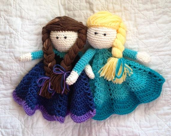 Crochet Elsa And Anna Dolls : Anna and Elsa inspired Lovey/ Security by mamamegsyarnshoppe