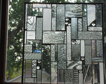 Stained glass panel with clear textured glass