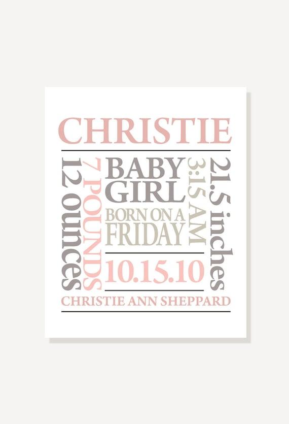 Nursery Art Birth Announcement - Subway Art - Personalized & Custom Colors Digital Print Poster
