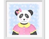 Panda Bear Nursery Art, Teddy Bear Wall decor, 12 x 12 children's wall art print - Panda Bear Nursery