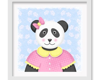 Panda Bear Nursery Art, Teddy Bear Wall decor, 12 x 12 children's wall art print - Panda Bear Nursery