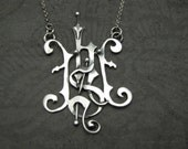Custom Designed Hand Pierced Monogram Sterling Necklace-Multi-Initial Pendant-Gothic Design