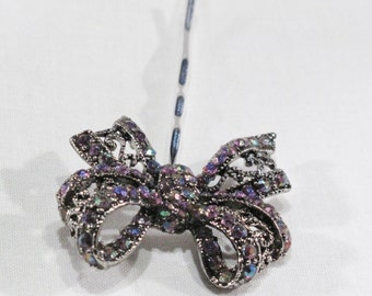 Hair Pin - Silver Findings - Shades of Purple Rhinestones and Lots of fine detail