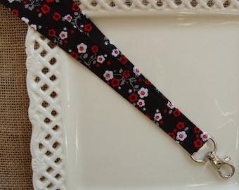 Fabric Lanyard- Cherry Blossoms on Black