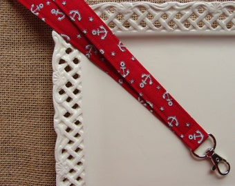 Fabric Lanyard - Anchors & Stars on Red