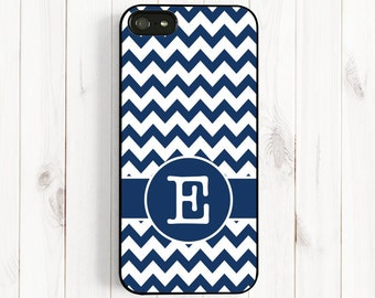 Navy Blue Chevron iPhone Case, Personalized First Initial Phone Case, Samsung Galaxy S3/S4, iPhone 7 4/4s, iPhone 5/5s/5c Case Csc90