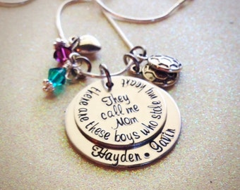 Custom Hand Stamped, Mom of Boys Necklace, Personalized