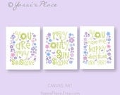 CANVAS Art, Purple Green Girl Nursery Decor, You are my sunshine, set of 3 Gallery wrapped canvas, floral wall art by YassisPlace GSSTR-002