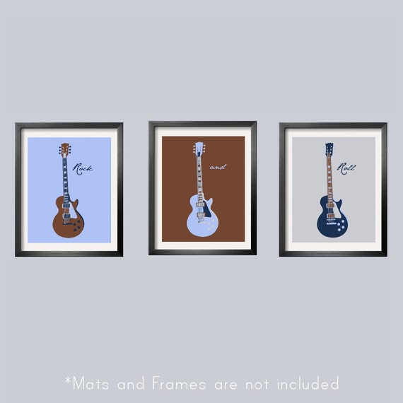 Kids Wall Art Guitar Prints in baby blue, brown, navy and silver 3 pc set 8x10 Looks great with Carter's Monkey Rockstar Bedding