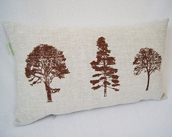 Hand Printed Tree Pillow Cover/ Brown Forest Trees/ Organic Linen Oat Color / Decorative Pillow/ 20x12in/ Ready To Ship