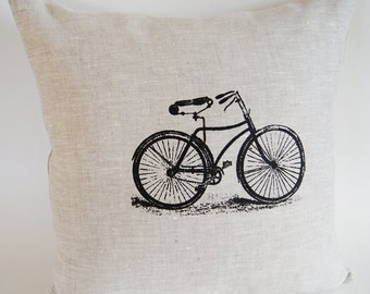 Vintage Black Bicycle Pillow Cover/ Hand Printed Organic Linen/  Oatmeal Color / Decorative Pillow/ 16x16in / Ready To Ship