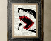 Buy 1 get 1 Free - Shark - Printed on a Vintage Dictionary, 8X10, dictionary art, paper art, illustration art, collage