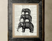 Buy 1 get 1 Free - Elephant Family - Printed on a Vintage Dictionary, 8X10, dictionary art, paper art, illustration art, collage