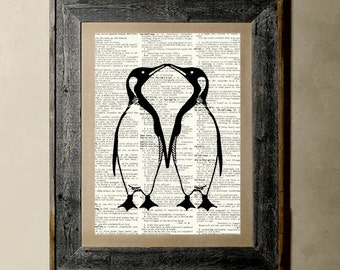 Penguns(Version 3) - Printed on a Vintage Dictionary, 8X10, dictionary art, paper art, illustration art, collage