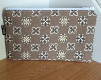 Zippered Pouch - Brown Floral
