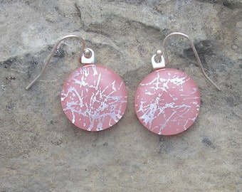 Rose Pink and Silver Earrings Fused Dichroic Glass Pink Earrings