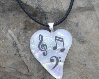 Love Music Necklace Fused Dichroic Glass Music Pendant