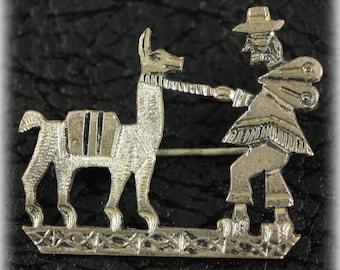 Silver Pin, Figural Pin, Peruvian Pin, Vintage, 900 Silver, Southwestern Style, Llama Pin Brooch
