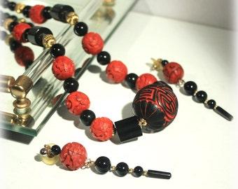Cinnabar Jewelry, Red Black Necklace, Bead Necklace, Carved Necklace, Cinnabar Earrings, Cinnabar Necklace, Exotic Jewelry