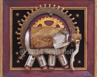 Processional Elephant -  Art Block Print
