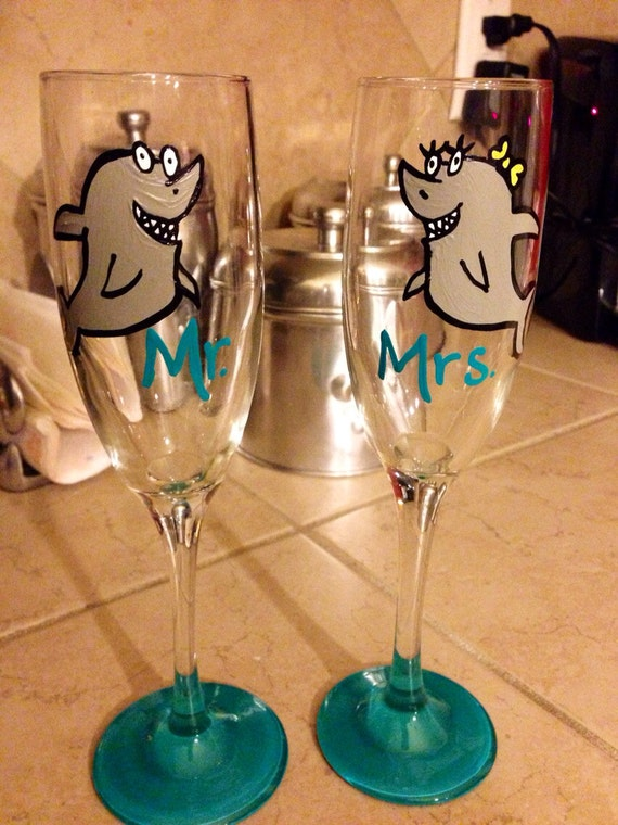 Mr. And Mrs. Shark wedding flutes bridal shower flutes toasting flutes
