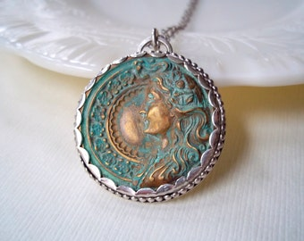 Ready to Ship Jewelry. Long Medallion Necklace. Sterling Silver Cameo Necklace.