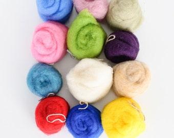 Wool for Felting, 5.92 oz (168 grams) Pack, Wool Roving / Carded Batt, 12 colors