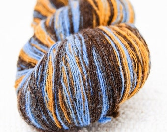Long colorways - 1 ply Lace Weight Kauni Wool Yarn, Mustard Yellow, Blue and Chocolate Brown