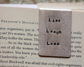 Personalized Bookmark , Hand Stamped , Live Laugh Love , Metal Bookmark  , ,   ,  , Anniversary gift for man Art