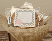 24 Personalized Cellophane Cookie Bags, Candy Bags - Delilah Label - ANY COLOR - cookie buffet bags, bridal shower favor bags