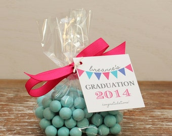 24 Mini Cellophane Favor Bags - Bunting Tag Design - Graduation Favor Bags // Party Favor Bags // Baby Shower Favor Bags