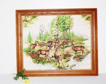 Vintage Cottage Deer in Forest Wall hanging