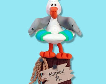 Paco PELICAN HANDMADE POLYMER Clay Personalized Christmas Ornament