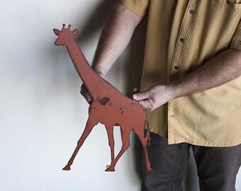 "Giraffe metal wall art - 19"" tall x 15"" wide - terra cotta with rust accents patina - steel wall art"