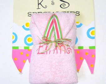 Light Pink Cozy Hooded Towel With A Girly Pink Green White Stripe Ribbon/Swirl Font/ Gift:Birthday,Shower,Christmas,WeddingParty,Fun Unique