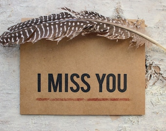 I Miss You Card - Typographic I Miss You Greeting Card