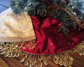 Free Shipping! Reversible Christmas Tree Skirt-Silks, Organza, Chandelier Beads-Exceptional-58""