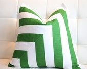 Green Decorative Pillow Cover-  Green- White- Stripes- 18x18""