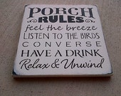 Porch rules wooden sign by Dressing Room No. 5