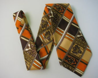 Men's Silk Tie Wide 70s Made in Italy by Cama Brown Tan Orange