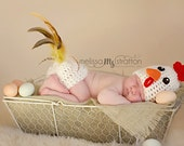 Newborn baby chicken butt  cover hat set crochet Newborn photo props photography girl boy